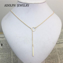ADOLPH Jewelry SALE 1pc New Hot Unique Charming Gold Tone Bar Circle Lariat Necklace Womens Chain Jewelry Gift Cheap Drop Free(China)