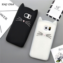 RMJ-DNA Cat phone Case Cute Korea Black White pussy Silicone Case Soft For Samsung Galaxy S3 S4 S5 S6 s7 Edge Rim More S8 S8Plus(China)