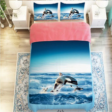 3d animal unicorn/horse dolphin bedding set without filler home textile twin single double full queen size Free Shipping(China)