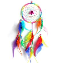 MS2504 Colorful Dream Catcher Circular Net With Feathers Bell Car Hanging Decoration Handmade Home Decor Ornament