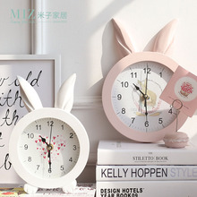 Miz Home White Creative  Rabbit Ear Wooden Wall Quartz Watch Desktop Clock Art Home Decor stickers wall Watches for Girl Women
