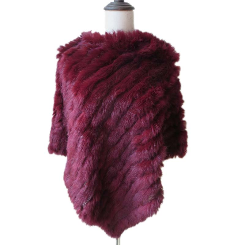 Women Genuine Real Rabbit  Fur Hand-Woven Cape Coat Winter Warm Poncho Soft Fluffy Shawl Wraps wine red