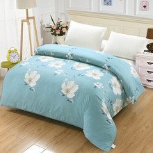White flowers duvet cover princess blue luxury quilt cover single double king ru europe family size 100% cotton blanket cover(China)