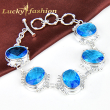 Hot Sale Jewelry Simple Design Sky Blue Created Crystal Women Chain Elegant Silver Bracelet