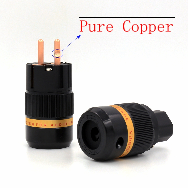 Free shipping one pair Viborg VE-501+VF501 pure copper Schuko Power Connector IEC Plug Connector Audio Male Plug HIFI Power Plug<br><br>Aliexpress