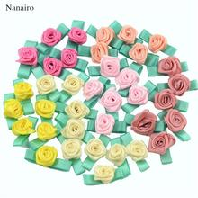 500PCS Artificial Mini Silk Rosettes Fabric Flowers Heads Making Handmade Satin Ribbon Applique DIY Craft For Wedding Decoration(China)