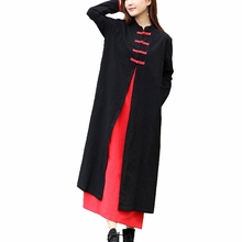 Women Vintage Cotton Maxi Dress Traditional Chinese Style Robe Longue Long Sleeve Fake Two Pieces Black Red Casual Retro Dress