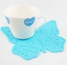 300 pcs Cute Silicone Carton Butterfly Placemat Cup Mat Coaster Place Mat Table Decor Flexible Table Heat Resistant Drinks Mats