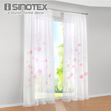 Window Curtains Panel Beautiful Handmade Floral Printed Pattern High Quality Voile Drape 100% Polyester For Living Room 1 PCS(China)
