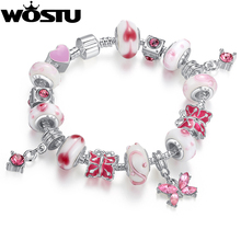 Aliexpress Hot Sale Silver Butterfly Charm bracelet for Women Fashion DIY Beads Jewelry Original Bangle Pulseira Gift XCH1177