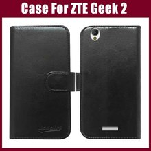 ZTE Geek 2 case,6 Colors High Quality Flip leather mobile phone case for ZTE Geek 2 case wallet style free shipping.(China)