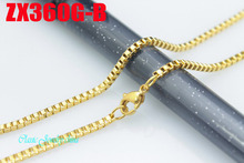 "14""-38"" length golden color stainless steel necklace 2mm fashion box chain Jewelry women male lady fashion chains ZX360G-B(China)"
