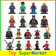18pcs Mini Marvel Super Heroes Avengers Hawkeye Bat Superman Wolverine Thor Hulk loki Flash figure Building Toy XINH 001-018