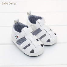 infant boys 2017 summer white new baby boy sandals closed toe PU leather beach shoes sandals holes cotton cheap newborn sandals