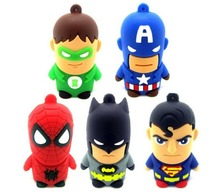 Hot Cartoon Superman Spiderman Batman Captain America Silicone USB Flash Drive Pen Drive 2GB 4GB 8GB 16GB 32GB 64GB USB 2.0