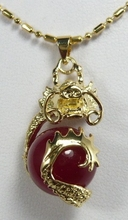 wholesale Chinese  fancy design 18kgp dragon inlay 12mm  wine red pendant jewelry 08