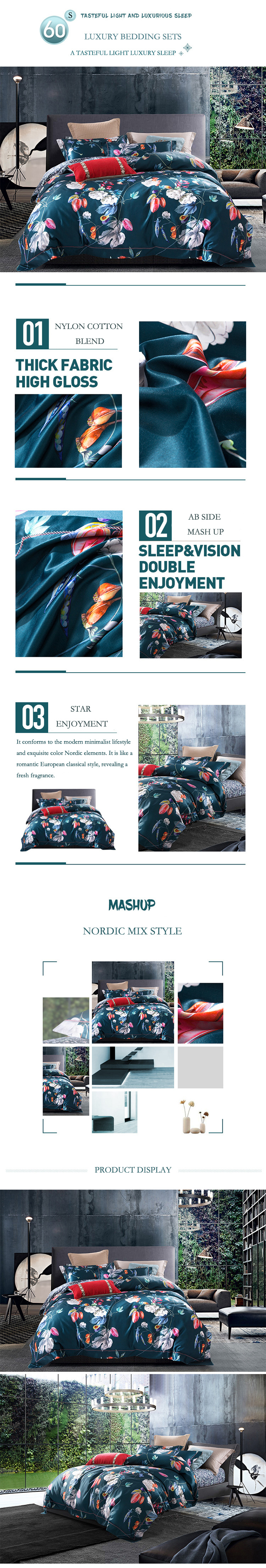 queen comforter bedding sets parure de lit adulte beddengoed Nordic retro duvet cover cotton bed sheets dekbed overtrek bed linen 01