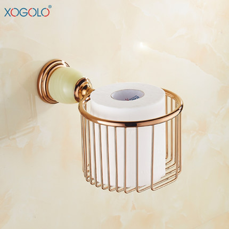 Xogolo Copper Base Jade Mosaic Wall Mounted Gold Fashion Toilet Paper Holder Wholesale And Retail Paper Towel Basket<br>