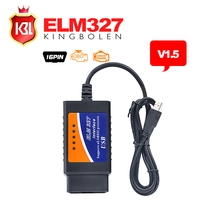 Wholesale ELM 327 USB Interface OBD/OBDII Scanner V1.5 Version ELM327 USB Car Diagnostic Interface Scan Tool with Free Shipping