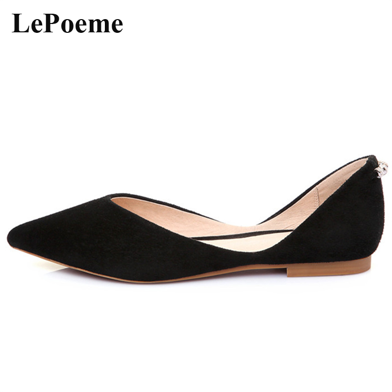Pointed Toe Ballet Flats Shoes Woman Brand Shallow Womens Flats Casual Fashion Summer Genuine Leather Ladies Girl Lazy Shoes<br>