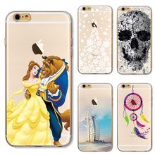 Soft TPU Cover For Apple iPhone5 5S SE 6 6S 6Plus 6SPlus 7 7 Plus Case Phone Shell Funny Patterns Beauty And The Beast Cute Bear