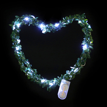 Waterproof Artificial Rattan Leaf LED String Fairy Lights Lamp for christmas XMAS wedding decoration party event 2M Copper Wire(China)