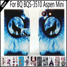For BQ 3510 BQS-3510 Aspen Mini Wallet Card Slots Book Style Flip PU Leather Case Cover Phone Case Fashion!