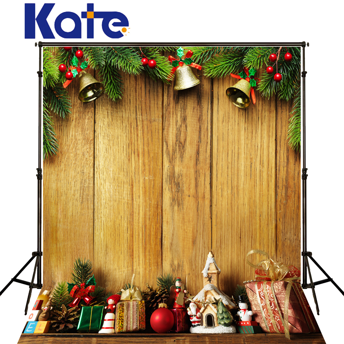 Kate Christmas Photography Backdrops Gold Bell Toy Fondo Fotografico De Estudio Yellow Wood Floor Fundo Fotografico Natal<br>