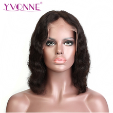 YVONNE Body Wave Short BOB Lace Front Wigs Virgin Brazilian Human Hair 180% Density With Baby Hair Natural Color Free Shipping(China)
