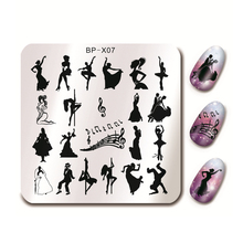 BORN PRETTY 6*6cm Square Nail Art Stamp Template Dancing Design Manicure Nail Stamping Image Plate BP-X07(China)