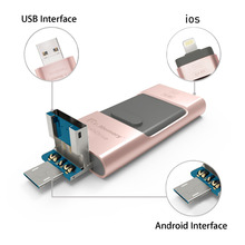 OTG USB Flash Drive 100% Real Capacity 3 In 1 USB 3.0 Metal Pen Drive 64GB Pendrive For iPhone 5 5s 6 6 Plus 7 iPad USB Stick
