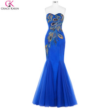 Peacock Dress Prom Grace Karin Brand Fashion Strapless Sequin Elegant Gowns Dinner Party Long Prom Dress Mermaid Formal Dresses