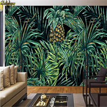 beibehang Custom Photo Wallpaper Hand painted Southeast Asian Style Palm Tree Leaf Living Room TV Background Mural