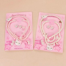 Lovely Children Jewelry Set 7 PCS = 1 Lot Children Necklace Bracelet Earrings Ring Head Hairpin BB Clip Hair Rope Grils Kids