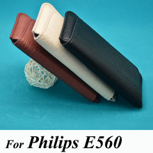 Phone Case For Philips Xenium E560 PU leather luxury pouch flip waist bag cover phone holster coque housing(China)