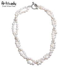 Artilady luxury natural freshwater pearl layer necklace fashion genuine pearl necklace for women jewelry party