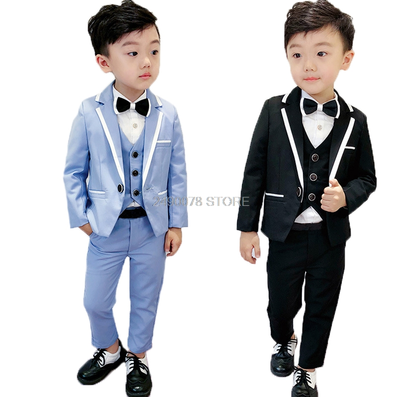 Baby Boy Party Dress Outfits Kids Tie Gentleman Formal Clothes Suit Costume Set