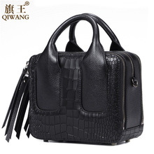 Qiwang Nice Box Bags Luxury  Brand Women Lay Bag 2017 Italian Crocodile Handbags Purse Leather Lady Hand Collection Bag