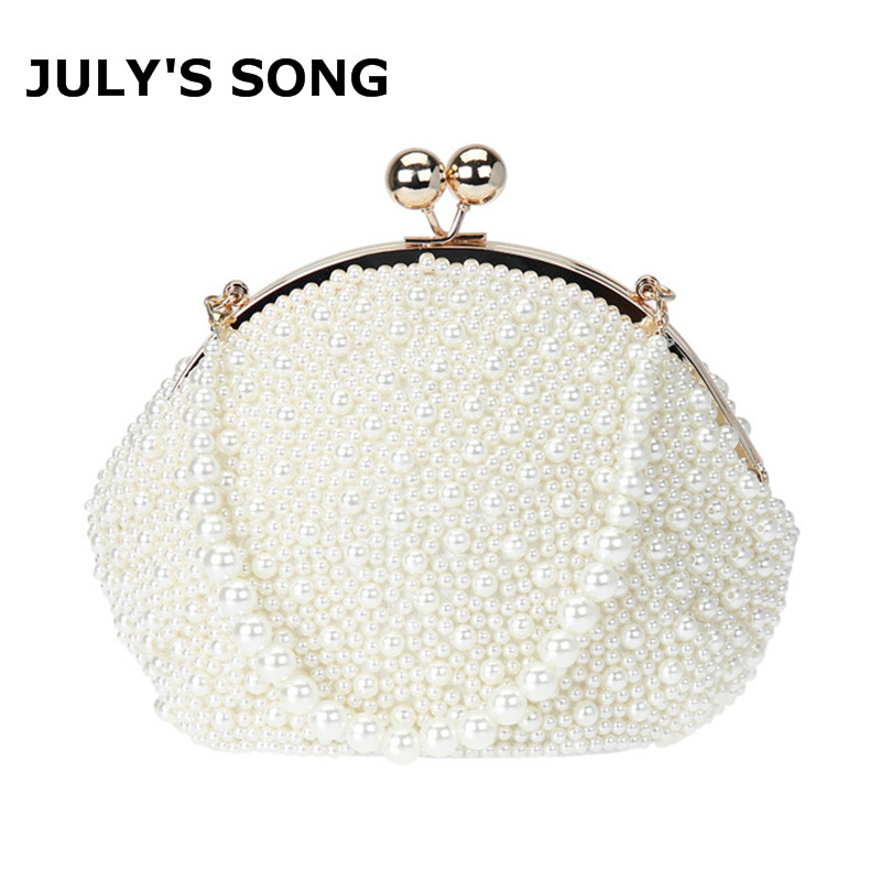Beaded Handbags Clutches Embroidery Wedding-Purse Pearl Night-Club Shabby Chic Luxury-Day title=