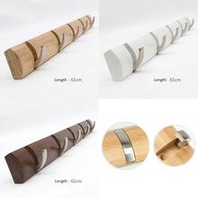 Bamboo base with 5pcs metal hook coat hanger, wall mount holder, bag & key hook, three color for your choice