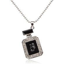 DILILI 2017 Fashion Black Digital Crystal Square Bottle Pendant Necklace Femme Long Chain Necklaces & Pendants For Women Jewelry(China)