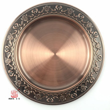 24cm,30cm,35cm, 40cm stainless steel metal plate bronze round dish plate/cooper/bronze metal serving tray/platos dorados(China)