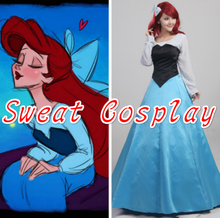 High Quality The Little Mermaid Ariel Princess Costume Adult Women Halloween Cosplay Costume Party Dress