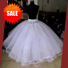 Best Sell White 3 Layers Wedding Accessories For Wedding Dress Tulle Dress Skirt Ball Gown Petticoat 2016 Skirt No Hoops(China)