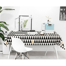 European simple style Black and white geometric patterns cotton and linen tablecloth  for Dinning Table Tea Tables Table cloth