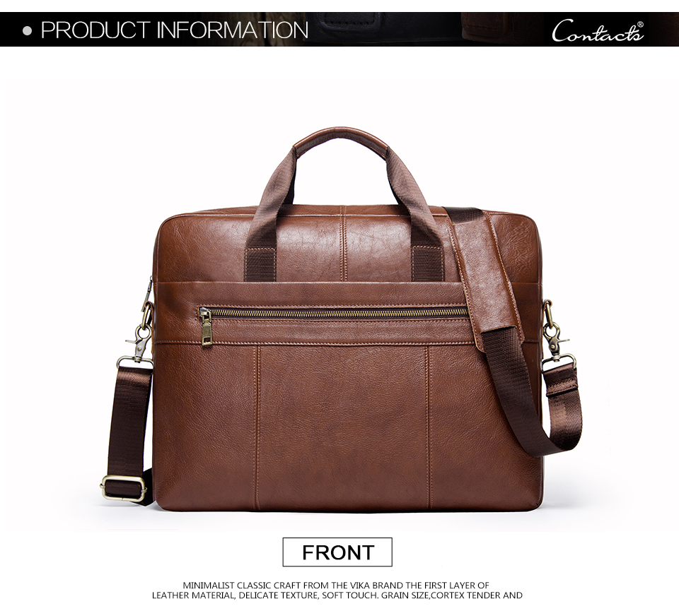 """حقيبة لابتوب من الجلد الطبيعي لرجال الاعمال 15.6"""" 6"""