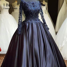 Lace Appliquues Black Satin Evening Dress Long Sleeve Arabic Ball Gown Black Prom Dresses Party Gown High Quality Robe De Soiree
