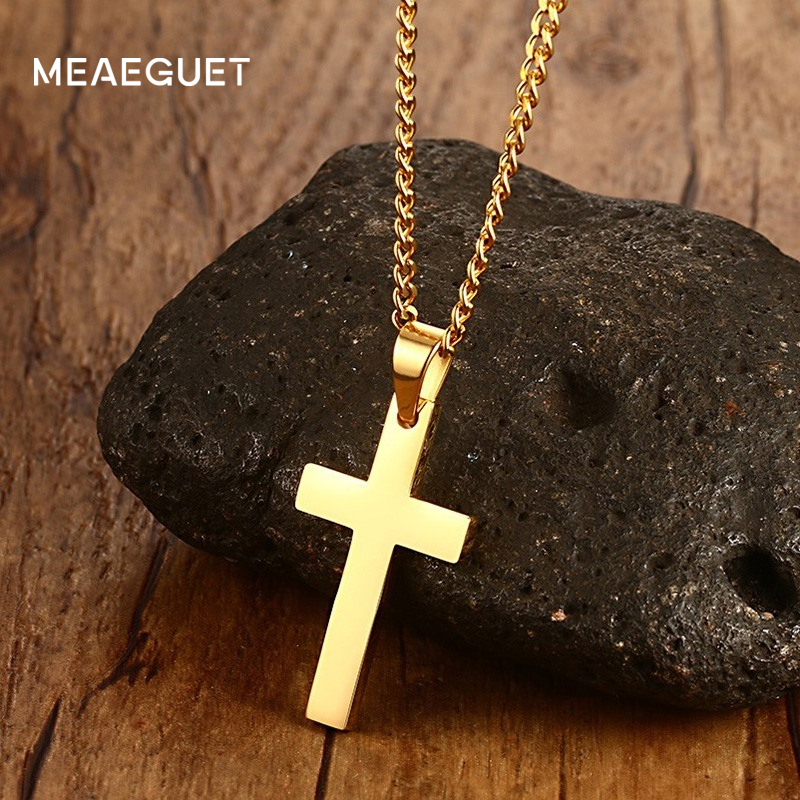 "Meaeguet Jewelry Men's Cross Necklaces For Women Men Stainless Steel Gold-Color Pendant Prayer Necklaces 24"" Curb Chain(China)"