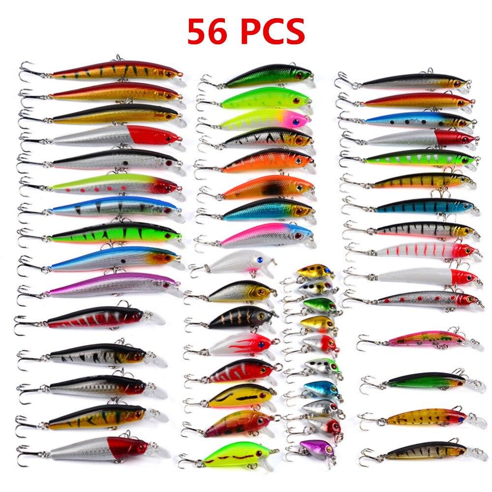 Hot 56pcs/lot Fishing Lure Set Mixed 8 Models Fishing Tackle Crankbaits 56 Color Minnow Lure Crank Lures Mix Fishing Bait L57<br>