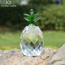 Handmade Crystal Pineapple Figurines Miniatures Polished Glass Crafts Feng Shui Ornaments Home Decor DIY Gifts(China)